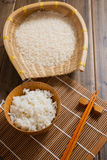The rice on bamboo mat Stock Image