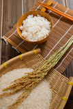 The rice on bamboo mat Royalty Free Stock Images