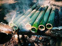 Rice bamboo - the traditional asian foods. The street food stock images