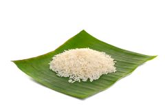 Rice on banana leaf Stock Photo
