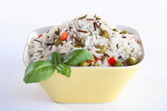 Rice and basil in the bowl Stock Image
