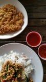 Rice and basil Stock Photo