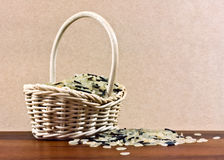 Rice in basket Royalty Free Stock Photos