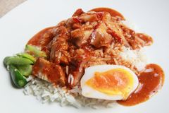 Rice with bbq and crispy pork Royalty Free Stock Image