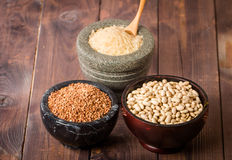 Rice, beans and buckwheat Royalty Free Stock Photography