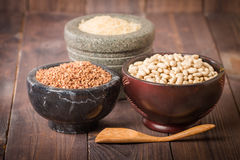 Rice, beans and buckwheat Stock Images
