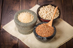 Rice, beans and buckwheat Royalty Free Stock Images
