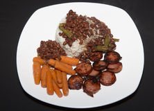 Rice and beans. Plate of rice, beans and sausage cajun style Stock Photos