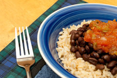 Rice, Beans and Salsa Royalty Free Stock Photo