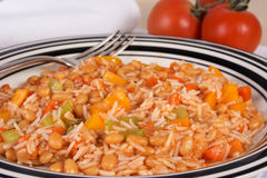 Rice with Beans and vegetables Stock Image