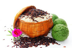 Rice berry. Rice and fruit on the ricebox Stock Image