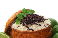 Rice berry. Rice and fruits on ricebox Stock Image