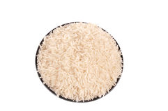 Rice in the black bowl Royalty Free Stock Photo