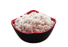 Rice in black bowl isolated on white, Clipping Royalty Free Stock Image