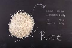 Rice on black chalkboard Stock Photo