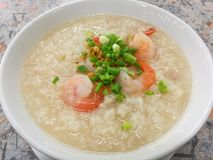 Rice boil with shrimp. Leek slice Royalty Free Stock Images