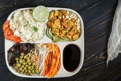 Rice boiled with chicken, vegetables, mushrooms of a shiitaka. And soy sauce royalty free stock photos