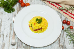 Rice boiled with curcuma Stock Photo