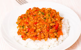 Rice with Bolognese sauce Royalty Free Stock Images