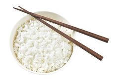 Rice Bowl. Japanese rice in bowl with chopsticks Stock Image