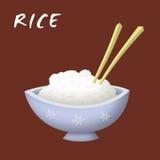 Rice Bowl. Bowl of rice cartoon with chopsticks royalty free illustration