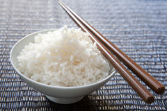 Rice bowl with chop picks Stock Images
