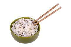 Rice in a bowl with chopsticks Stock Image