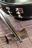 Rice bowl and chopsticks royalty free stock photo
