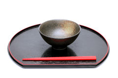 Rice bowl and chopsticks Stock Images