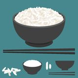 Rice in bowl and chopsticks vector royalty free illustration