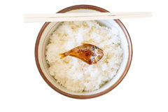 Rice in a bowl and fish on top Stock Image