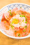 Rice bowl with fresh raw fish. Japanese style food Royalty Free Stock Photos