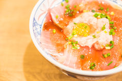 Rice bowl with fresh raw fish. Japanese style food Royalty Free Stock Photo