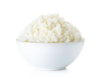 Rice with bowl isolated on the white background Royalty Free Stock Image