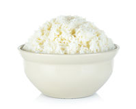 Rice with bowl isolated on the white background Royalty Free Stock Photography
