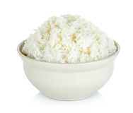 Rice with bowl isolated on the white background Stock Image