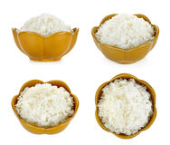 Rice in a bowl isolated on a white background Royalty Free Stock Image