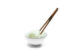 Rice in the bowl. A bowl of rice and a pair of chopstick Stock Photography