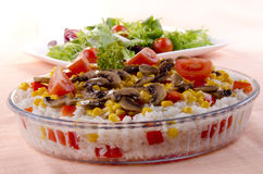 Rice bowl with peppers, corn and mushroom Stock Photography