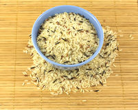 Rice in bowl on starw mat. China color rice in blue bowl on brown straw mat closeup royalty free stock photo
