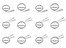 Rice Bowl symbol with chopsticks in line art Stock Photos