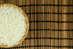 Rice in the Bowl on Traditional Asian Plate Mat.  Stock Images
