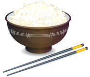 Rice Bowl. Vector illustration of a Rice Bowl and chopstick Stock Photo