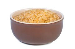 Rice in bowl on white background. Royalty Free Stock Photo