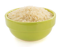 Rice in bowl. On white background Stock Photos