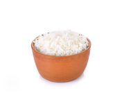 Rice in a bowl on a white background Royalty Free Stock Image