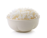 Rice in a bowl on white background Royalty Free Stock Photos