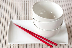 Rice Bowls and Chopsticks Stock Photography