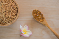 Rice bran oil capsules and paddy Natural Supplement Stock Photography