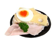 Rice bread and ham Royalty Free Stock Photos